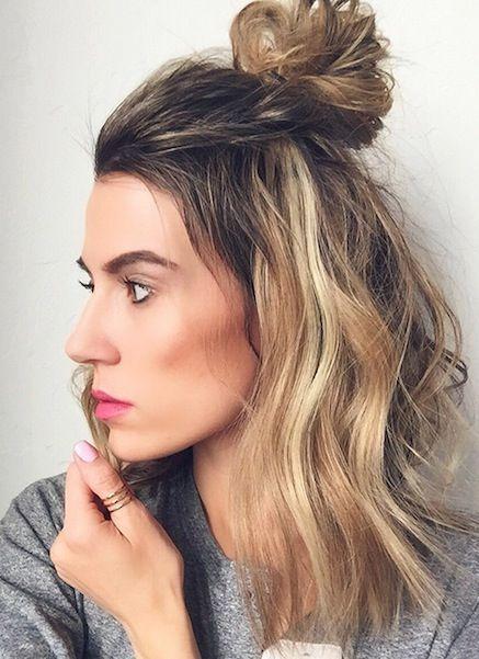 Shoulder length cut with 1/2 bun.  Hun hair looks so sexy.  Trendy medium hairstyle.
