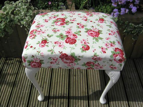 Painted Shabby Chic Stool / Cabriolet Legs / Cath Kidston Rosali Upholstery