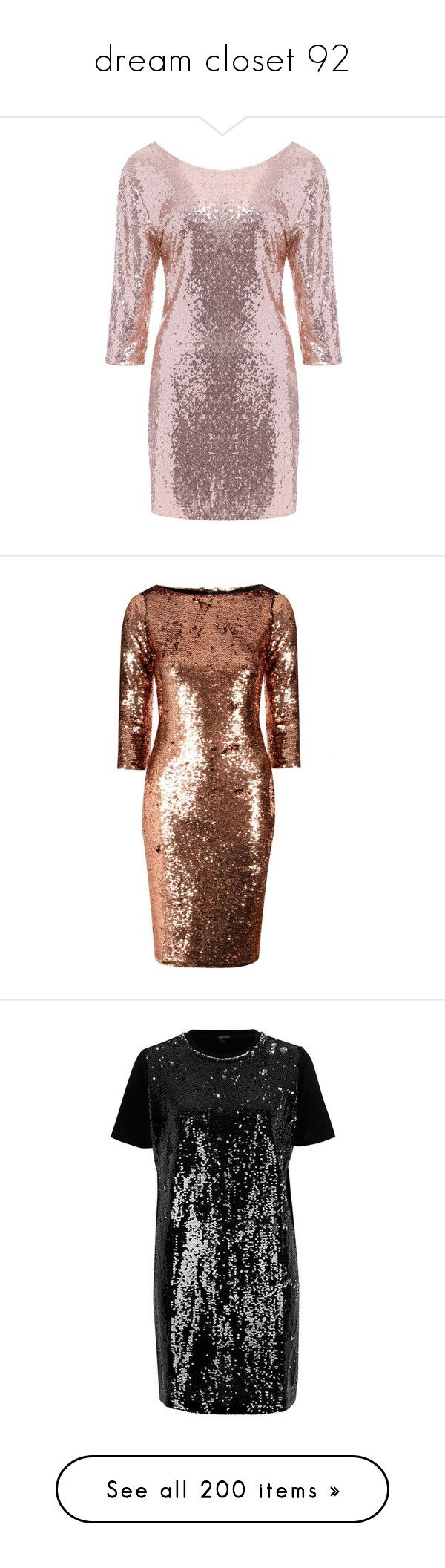 """dream closet 92"" by mrsromangodfrey ❤ liked on Polyvore featuring dresses, slim fit dress, sequin cocktail dresses, sequin dress, slimming dresses, backless cocktail dresses, metallic, copper sequin dress, copper cocktail dress and brown sequin dress"