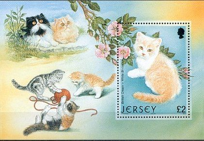 Cats on stamps Jersey