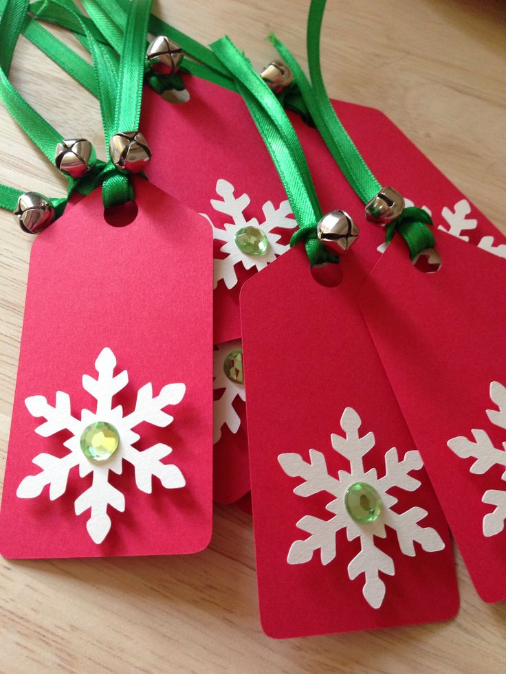 Holiday gift tags with tip-ons, ribbon, and bells. Cute!