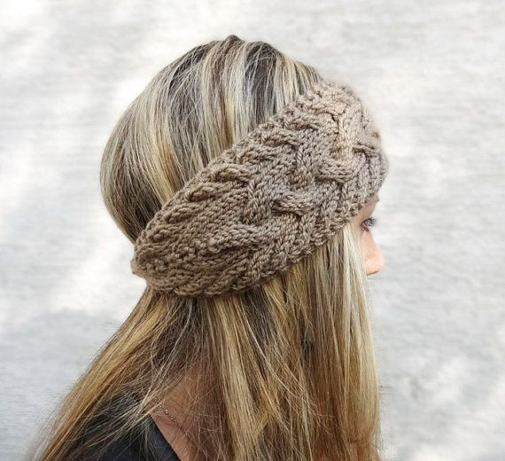 Womens Winter Headband Cable Knit Headband Charcoal by KnitsbyVara