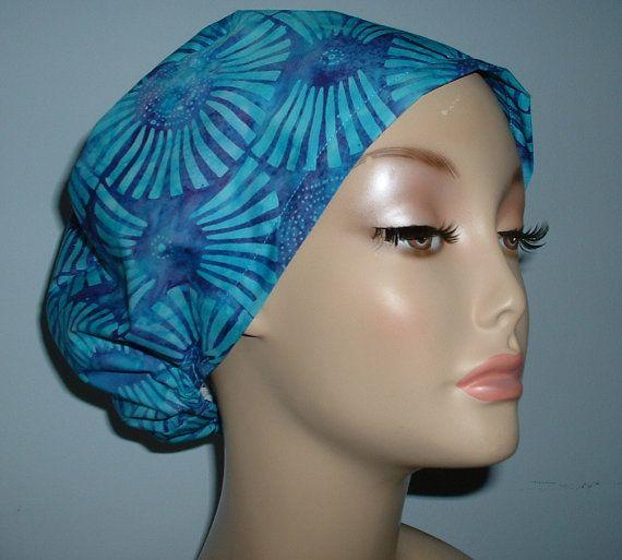 Batik Blue Sunflower European surgical OR scrub hat Chemo