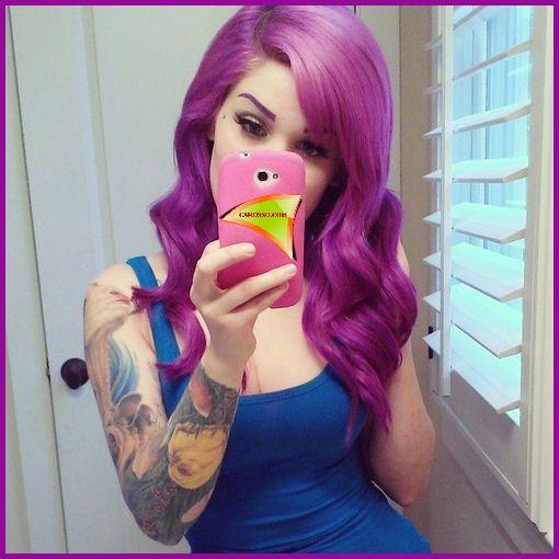 purple hair porn models