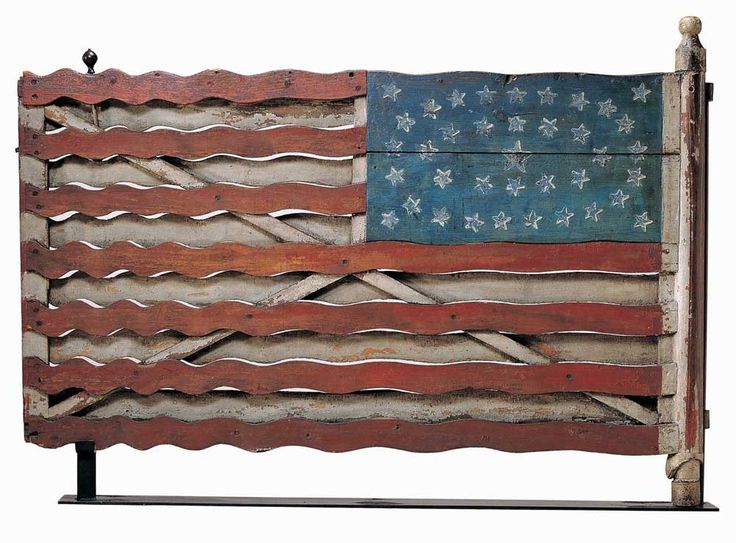 Flag gate  Artist unidentified  Jefferson County, New York  c. 1876  Paint on wood with iron and brass  39 1/2 x 57 x 3 3/4 in.