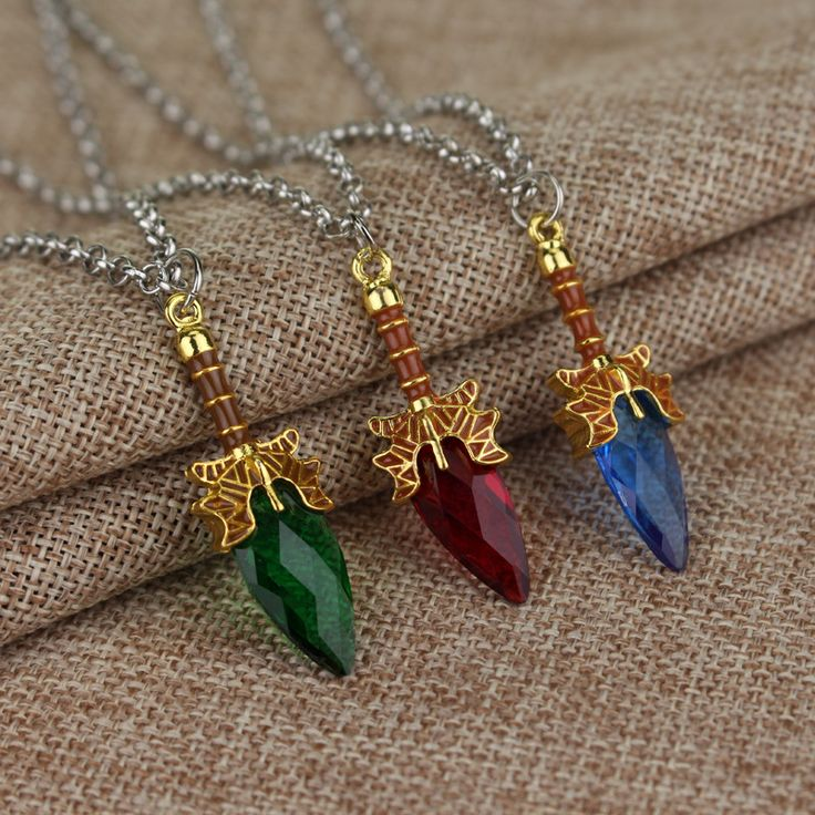 Dota 2 Necklace Aghanim's Scepter Necklace Blue Red Green Scepter Pendant For Dota 2 Fans Gifts MEN WOMEN Crystal pendant