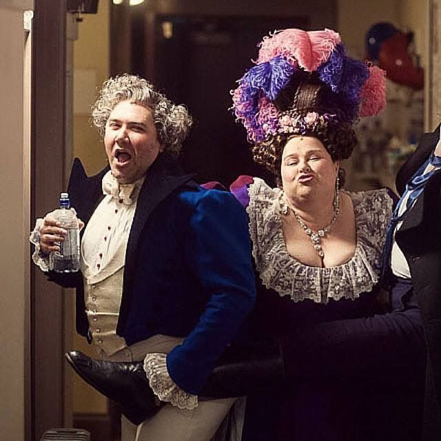 Behind the scenes at the Capitol Theatre Sydney. Trevor Ashley and Laura Mulcahy. ( the Thenardiers ). They are fantastic