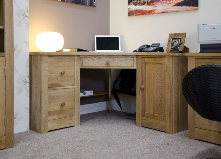 Torino Solid Oak Double Pedestal Corner Desk