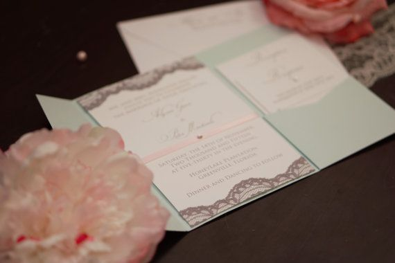 Mint, Pink and Gray Wedding Invitation Set with Satin Ribbon, Swarovski Crystal and Gray Handcut Lace  By Buggy + Bentley
