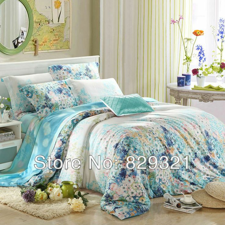 Blue And White Colorful Floral Fresh World French Country Chic Style Soft  Modal Tencel Full, Queen Size Bedding Sets