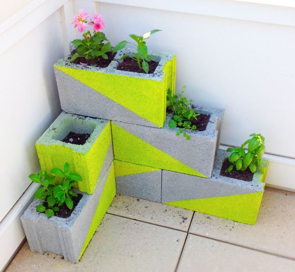 Awesome Upcycled Herb Garden Ideas  ...using cement blocks