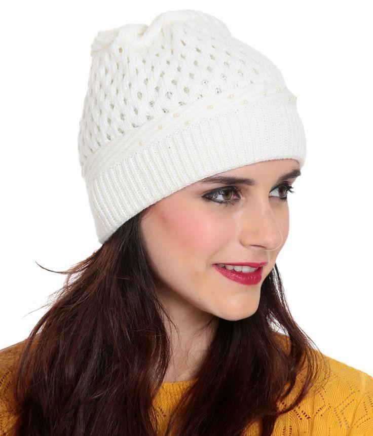 TAB91 White Woollen Cap for Women