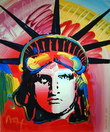 Statue of Liberty by Peter Max for July 4, 1976. Peter Max created a special installation and art book, Peter Max Paints America, to commemorate America's bicentennial. It was the year Max also began his annual July 4th tradition of painting the Statue of Liberty. In 1982, Max painted six Liberties on the White House lawn, and then personally helped to actualize the statue's restoration, which was completed in 1986