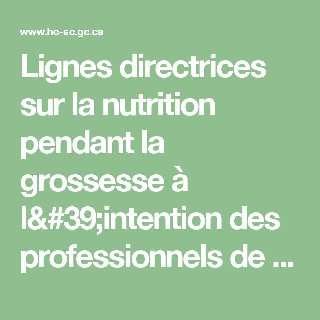 Lignes directrices sur la nutrition pendant la grossesse à l'intention des professionnels de la santé : Le folate contribue à une grossesse en santé [Santé Canada, 2009]