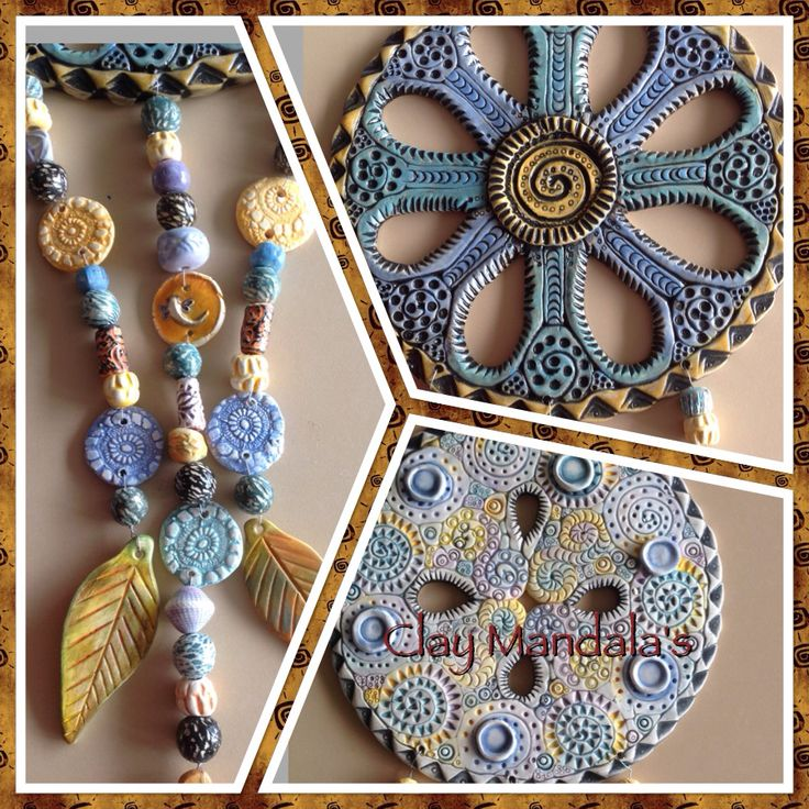 Coil rolled Mandala's with hanging beads, discs and leaves.