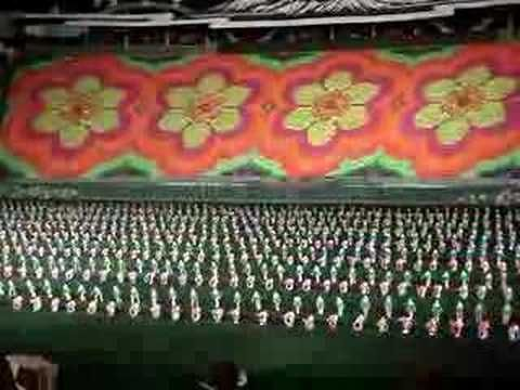 North Korea flag show - 100,000 performers.