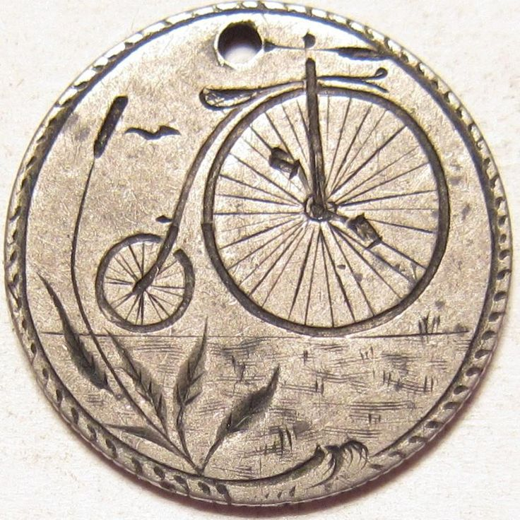 Rare Antique PENNY FARTHING HIGH WHEEL BICYCLE Art 1876 Silver Dime LOVE TOKEN. | eBay!