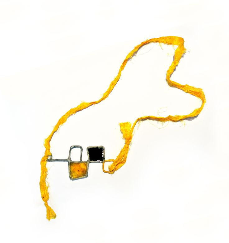 unique piece from my own wire-jewellery collection. >wire/fiber silk paper/yellow silk fabric