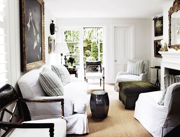chair seat cover still, and after many years, my favorite small drawing room, opening up to a charming courtyard.. #cameronkimber in Sydney- The slipcovers, Furniture, old Master portraits, that Mirror- perfection! @horschinteriors #favrooms #smallbutperfect #dontbeafraidtouselargescale