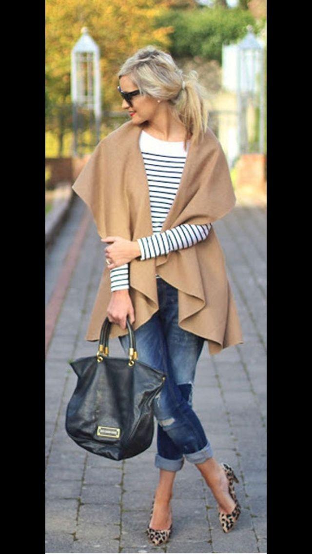 Stitch Fix Fall Fashion! - Camel shawl, striped tee, distressed denim and leopard pumps. #StitchFix #Sponsored