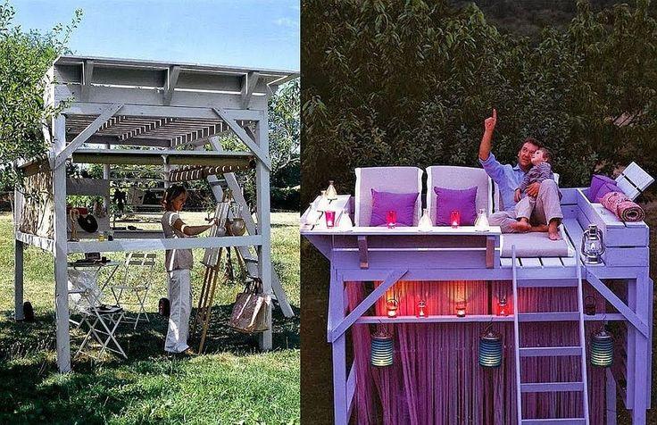 Chioșc de grădină cu etaj numai bun și ca loc de lucru în aer liber