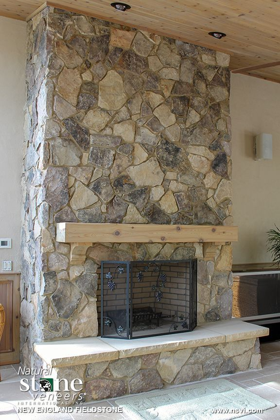 New England Fieldstone Fireplace