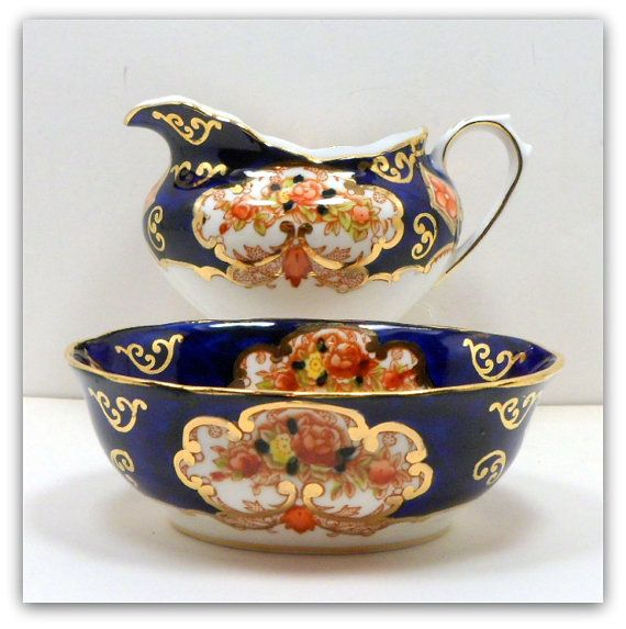 Royal Albert Cobalt Heirloom Imari Oval Mini Creamer Sugar 4534  $25