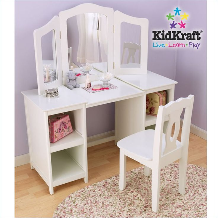 kidkraft deluxe wood makeup vanity table with chair and mirror chairs desks and girls. Black Bedroom Furniture Sets. Home Design Ideas