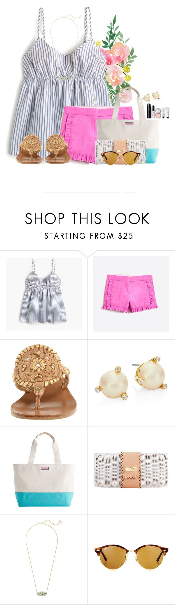 """~Packed with Prep~"" by flroasburn ❤ liked on Polyvore featuring J.Crew, Jack Rogers, Kate Spade, Kendra Scott, Ray-Ban and Bobbi Brown Cosmetics"