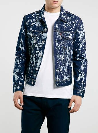 Levi's Slim Blue paint splat trucker denim jacket* -