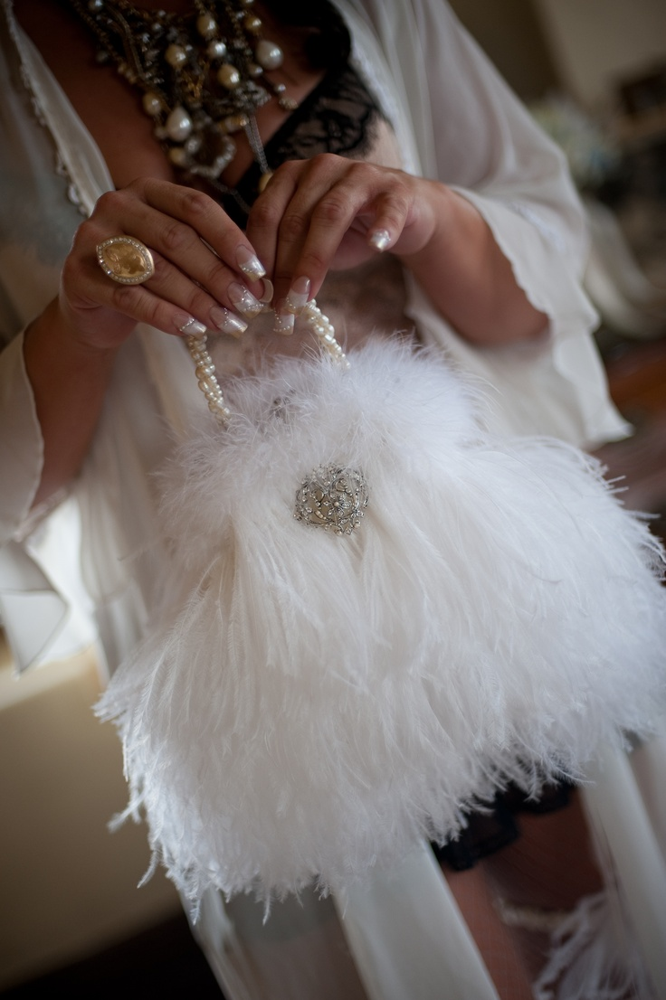 The bride made this purse from an old purse.