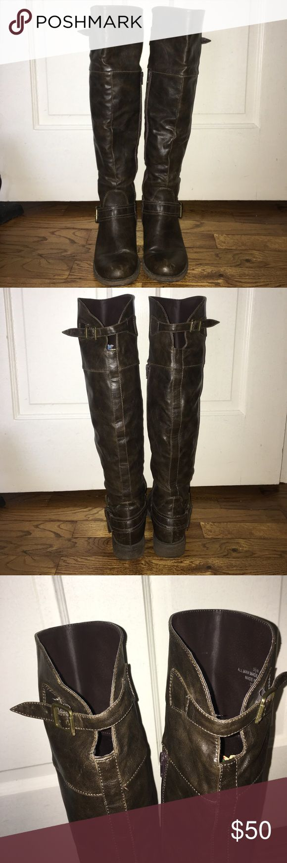 """Knee high riding boots These guys have been well loved. Off-brand from DSW. Come up over the knees and are a beautiful dark brown. A few """"love """" marks but does not distract or take away from the boot. Size 5.5 but fits like a 6. Shoes Winter & Rain Boots"""