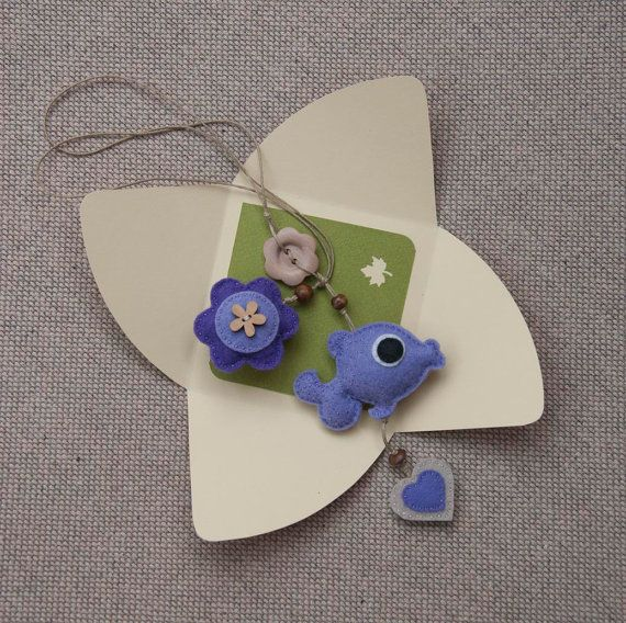 Felt fish bookmark with  flower and heart in lavender by suyika  http://www.etsy.com/shop/suyika?ref=si_shop