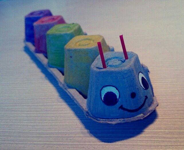 Crv-kutija za jaja Worm - egg boxes #worm #egg #boxes #handmade #kids #play