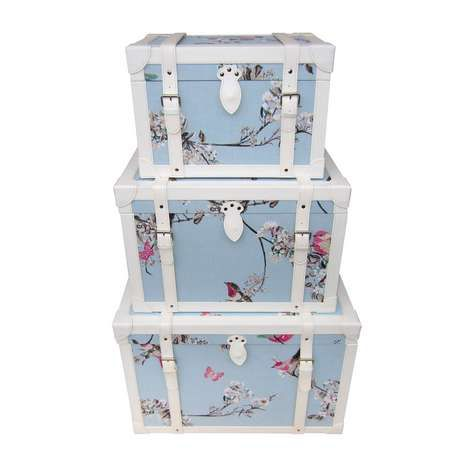 Storage that looks pretty to? Our Beautiful Birds Duck-Egg Chest most definitely fits the bill with it's colourful bird, butterfly and flower design on a duck-egg blue background with contrasting white leatherette trim and straps.