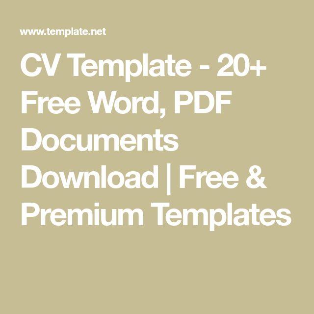 CV Template - 20+ Free Word, PDF Documents Download | Free & Premium Templates