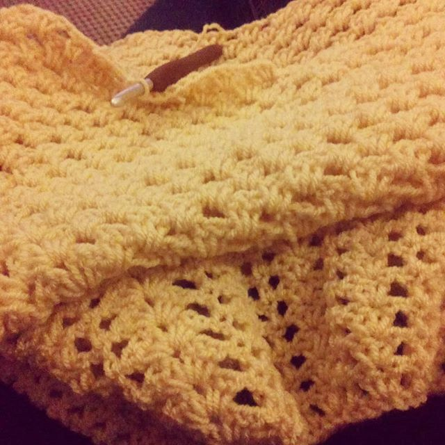 When you're so tired and you suddenly realise you've been crocheting with your eyes closed. I only had to frog a couple of shells from almost a whole round. Grins.  #crochet #crochetersofinstagram