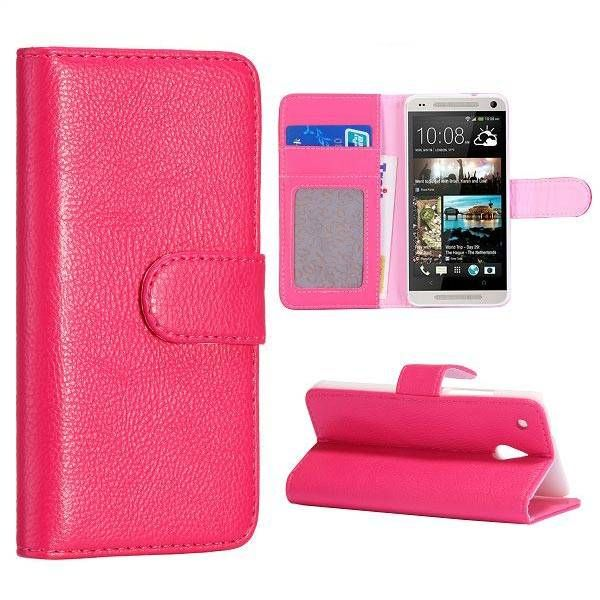 Roze lichee bookcase hoes voor de HTC One mini