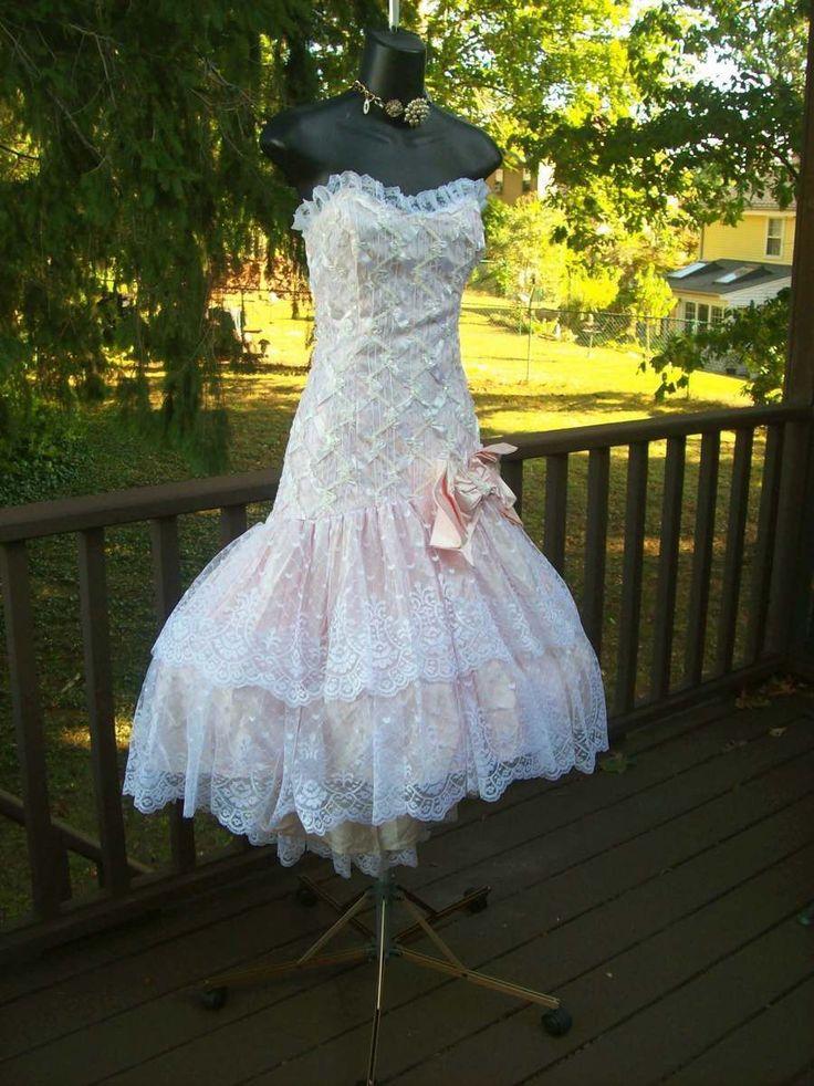 Vintage 80s Pretty in Pink Prom Dress Bachelorette Party Dress XS   eBay