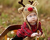 Baby Hat - Reindeer Hat - Baby Reindeer Hat -  0 - 3 months  Cute and Soft Earflap - by JoJosBootique. $34.00, via Etsy.