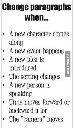 Help students choose when to change paragraphs.