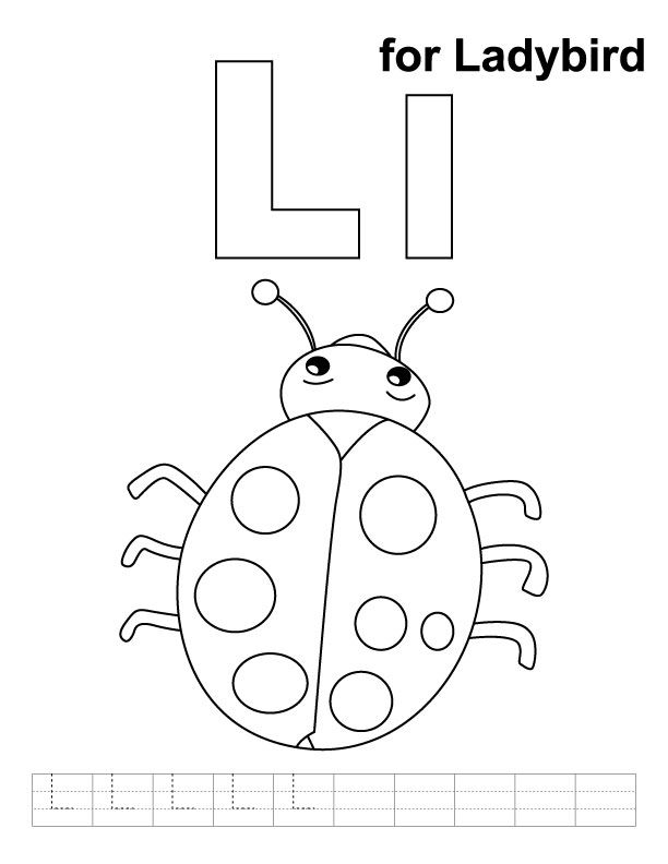 L for ladybird coloring page with handwriting practice