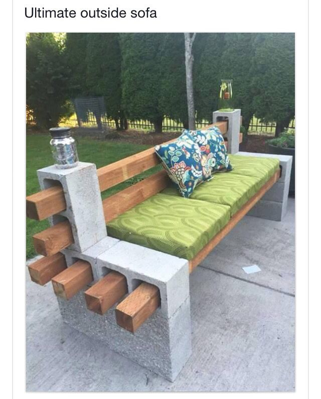 Bench Made From Cement Blocks And Wood Boards Diy Patio
