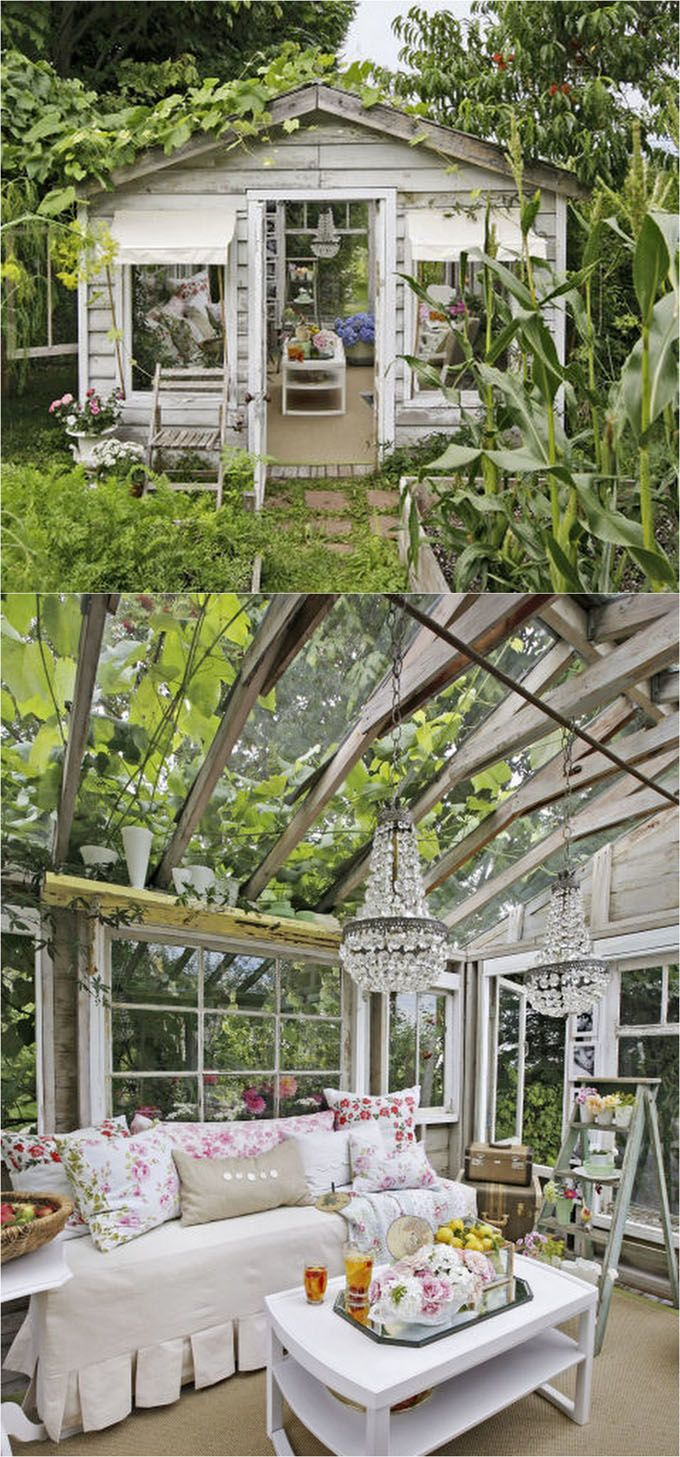 12 Most Beautiful DIY She Shed And Greenhouse Ideas With Reclaimed Windows