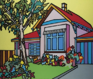 Pink House by Howard Arkley, Australian artist.