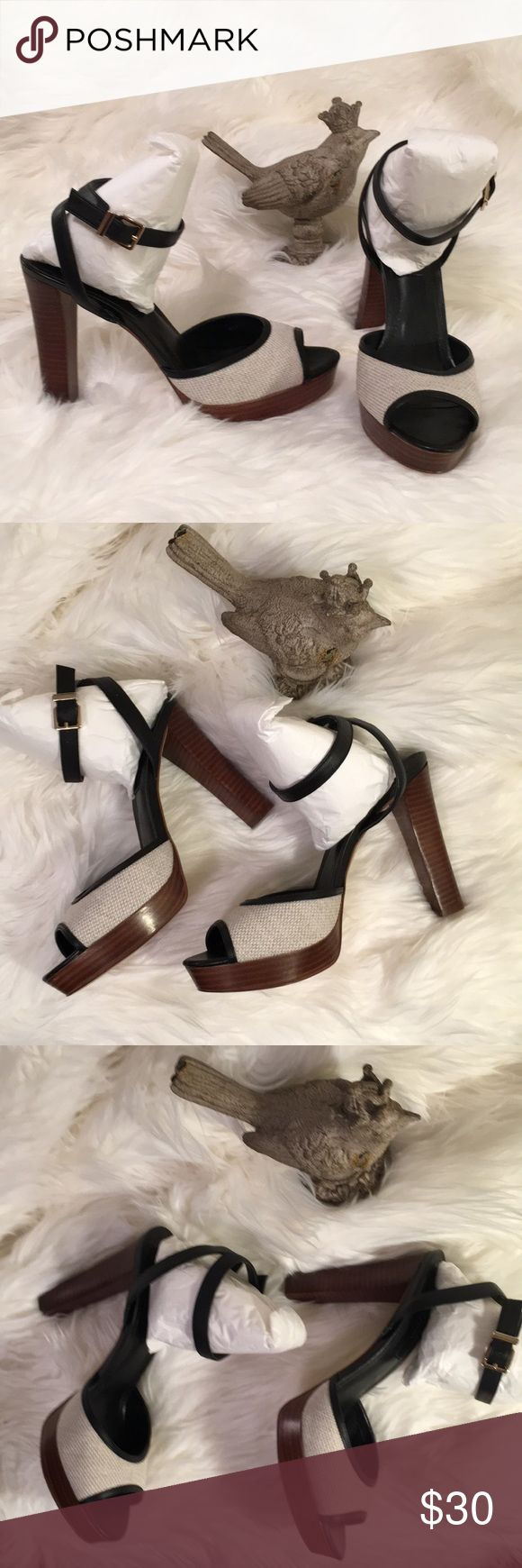 """Like NEW neutral & black heels White House Black Market heels Color can be worn with white, grey, tan.. It is very neutral. These wore once for a brief period.  They are very comfortable.  The heel is 5"""" but the front platform compensates for approximately 1 1/4"""". White House Black Market Shoes Heels"""