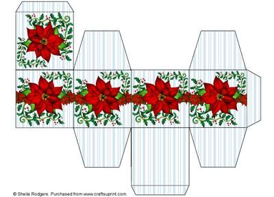 All in One Gift Box Poinsettia and Holly on Craftsuprint designed by Sheila Rodgers - An easy to make small gift box which would be perfect for hanging on the Christmas tree too. - Now available for download!