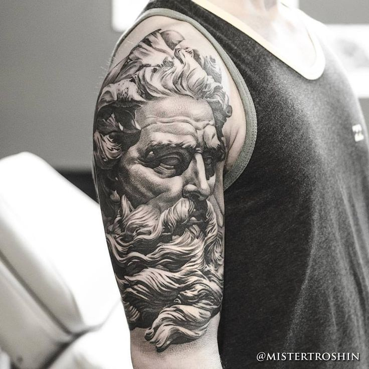 Chronic Ink Tattoo - Toronto Tattoo  Poseidon statue tattoo done at our shop by…
