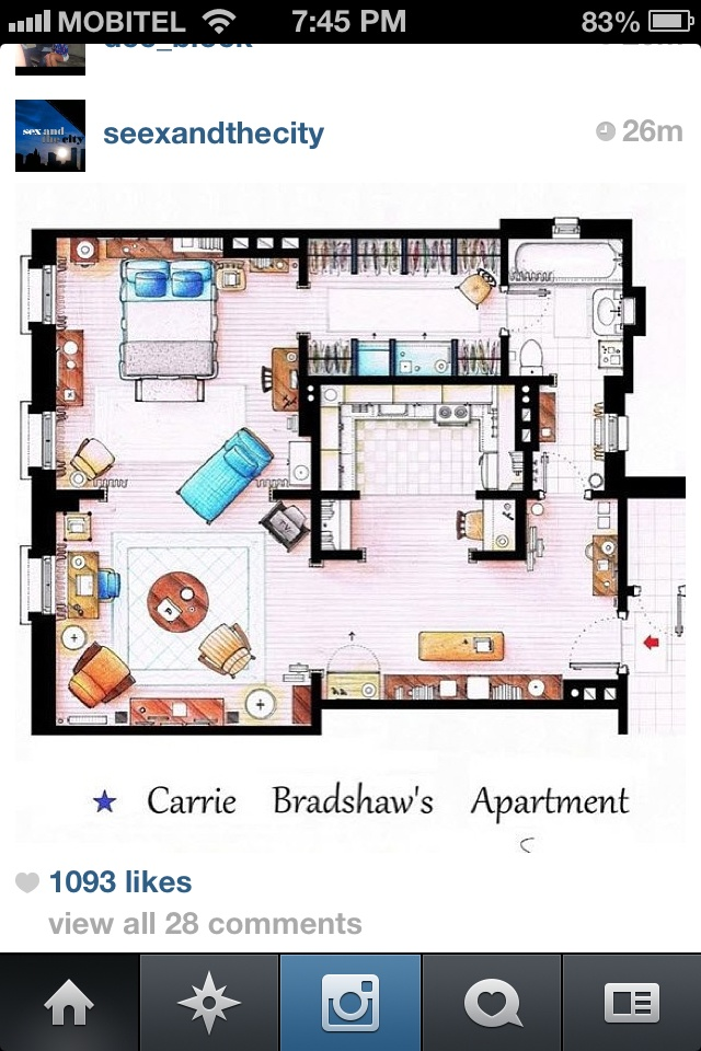 Ive always wanted carrie bradshaws apartment layout :( ... And location.