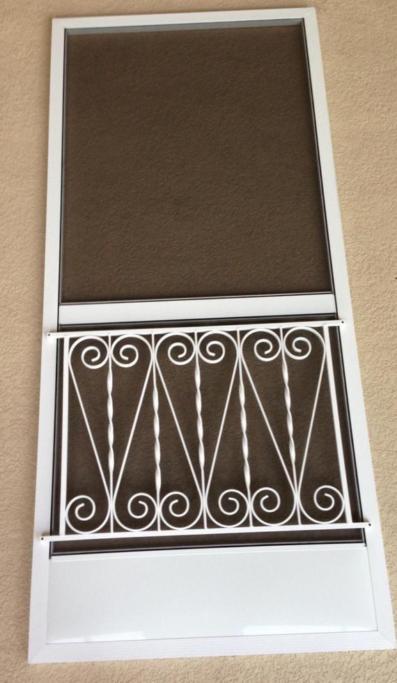 Screen Door Grille Vintage Inspired Ornate Scroll Design Hearts Style Decorative Protective Aluminum Custom Size Available Screen Door Screen Door Grilles Metal Screen Doors